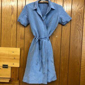 Isaac Mizrahi raw silk wrap dress in blue Sz 6